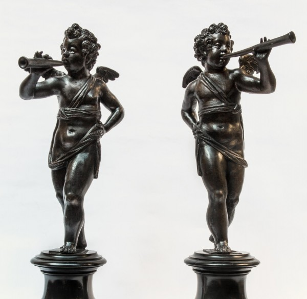 Niccolò Roccatagliata, Pair of Bronze Musician Angels, early 17th century