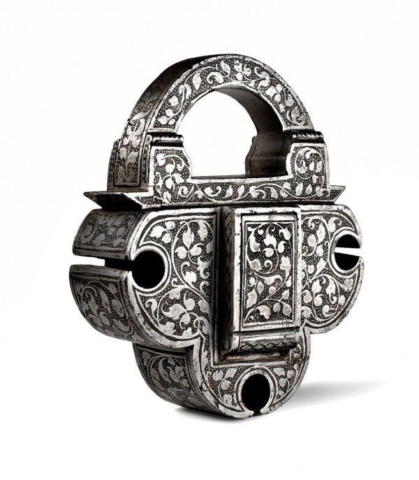 wrought-etched iron padlock-Nuremberg 16th century
