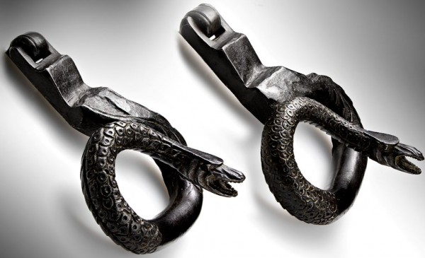 pair of doorkncockers-engraved iron-Italy 16th century