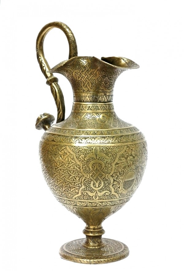 EWER, Engraved brass, Venice, 1540 – 50 circa, Azzoni Avogadro, Brandolini coat of arms art, antiques, works of art, brass, engraving, Venice, ewer, Islamic tradition, Azzoni Avogadro, Brandolini, marriage, present