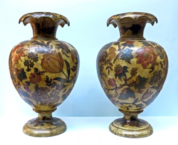 antiques, art, pair, decoration, flowers, genoa, Pedmont, baroque, rococò, color, clour, vases, PAIR OF VASES, Wood decorated with arte povera technique, Northern Italy (Piedmont)