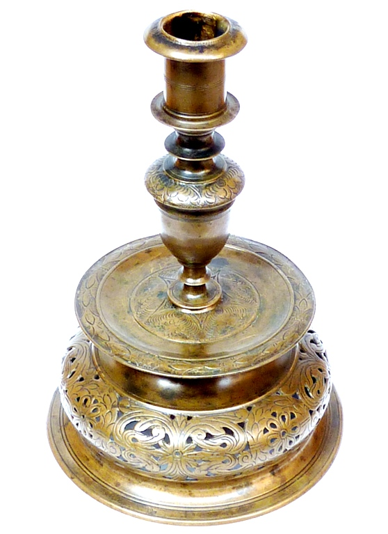Stephan Schirmer, TABLE CANDLESTICK, Engraved and pierced brass, Germany - Nuremberg, 1600 circa Works of Art, antiques, candlestick, brass, engraved, Stephan Schirmer, Nuremberg, baroque