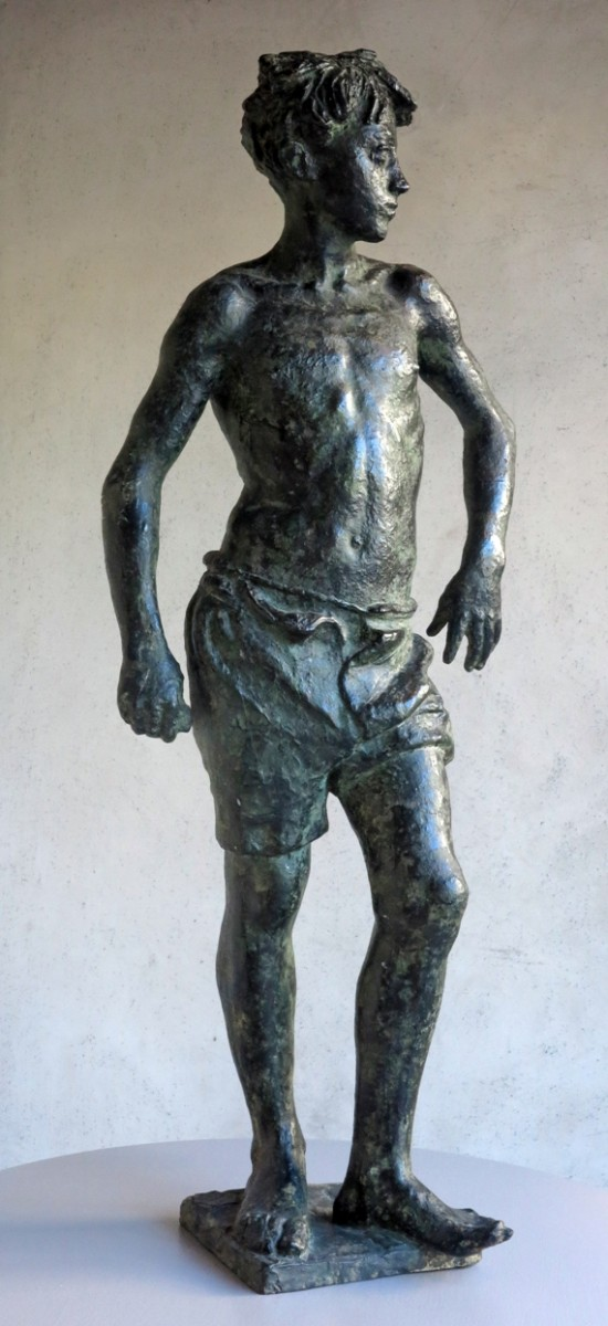 Italo Griselli, bronze, art, antiques, young, boy, florentine, Florence, Novecento, sculpture Italo Griselli (Montescudaio 1880 – Florence 1958), FLORENTINE BOY, Bronze, Circa 1935, Signed, foundry mark VIGNALI FIRENZE