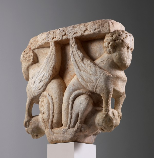 Puglia workshop, CAPITAL WITH SPHINXES, Carved marble, 1140-1450 art, antiques, stone, marble, sculpture, puglia, italy, sphynxes, sphynx, myth, mythology, capitel
