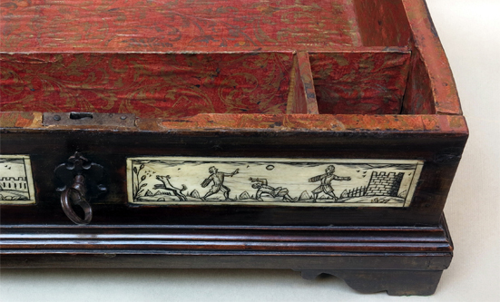 WRITING BOX - gioco del pallone, Bone inlaid wood, Northern Italy, Early 18th century art, antiques, sculpture, box, soccer, italy, history, sport, bone