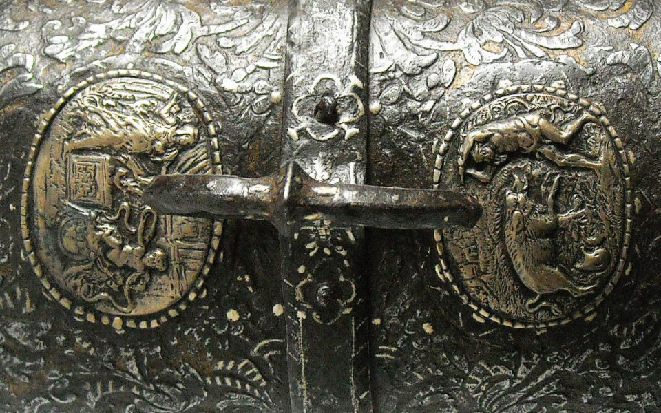 A refined French Casket in Iron, Gold and Silver