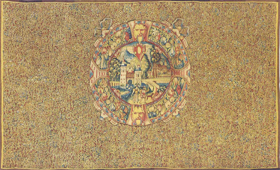 Tapestry-view-Coat-of-arms-millefleurs